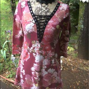 Vintage Lace-up Cotton Knit A-Line Tunic Dress S